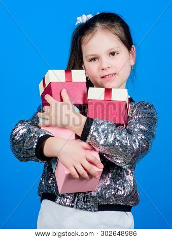 Black Friday. Shopping Day. Child Carry Lot Gift Boxes. Kids Fashion. Surprise Gift Box. Birthday Wi