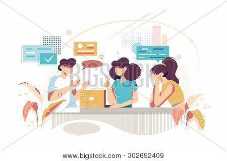 Flat Young Woman Friends Makes Opinion Exchange. Concept Businesswoman And Girl Characters At Workpl