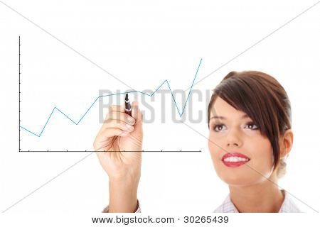 Businesswoman drawing a graph, representing business growth.