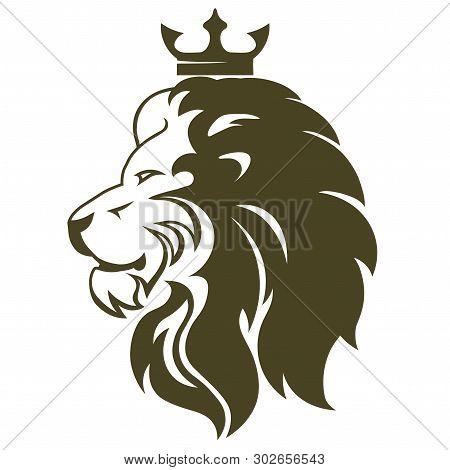 Lion Head With Crown. Royal Cat Profile. Golden Luxury Emblem. Vector