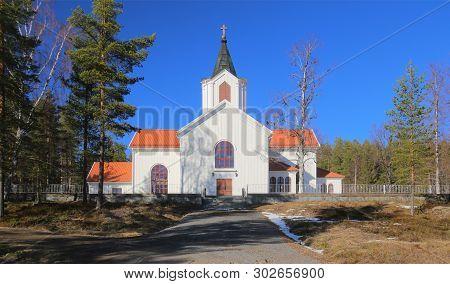 Osterjorn Church Near Jorn In Vasterbotten, Sweden.