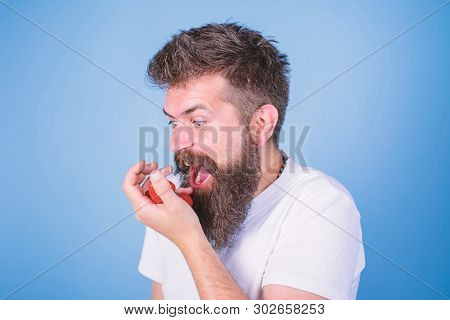 Do Not Touch My Berry. Hipster Bearded Holds Strawberries On Palm. Man Shouting Hungry Greedy Face W