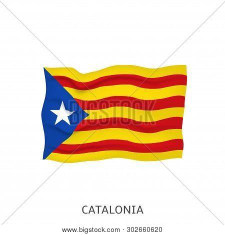 Flag Of Catalonia. Catalonian Waving Flag, Vector Illustration