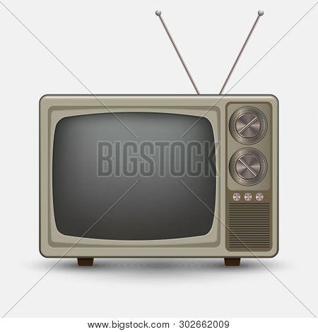 Realistic Old Vintage Tv. Retro Televesion. Illustration On White Background