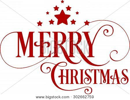 Merry Christmas Unique Handdrawn Typography Red Color With Stars. Great Design Element For Congratul
