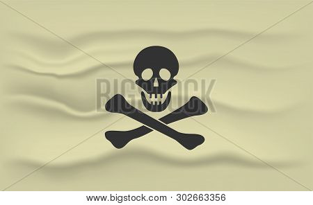 Jolly Roger Flag. Pirate Flag With Skull And Bones