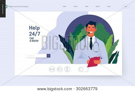 Medical Insurance Template -help 24 Per 7, Call Us -modern Flat Vector Concept Digital Illustration