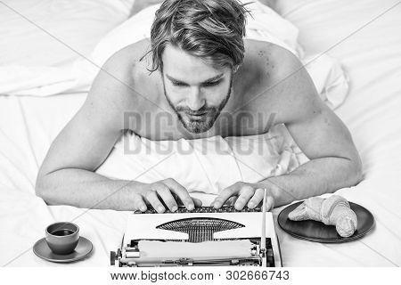 Writer Handsome Author Used Old Fashioned Manual Typewriter. Man Writer Lay Bed With Breakfast Worki
