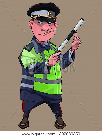 Cartoon Man In Russian Uniform Traffic Inspector With Wand In Hand