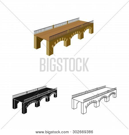 Isolated Object Of Bridge And Relocation Sign. Collection Of Bridge And Column Stock Symbol For Web.