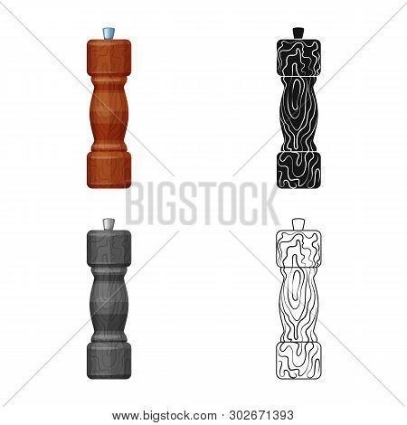Vector Design Of Saltcellar  And Seasoning Logo. Set Of Saltcellar  And Wooden  Stock Symbol For Web
