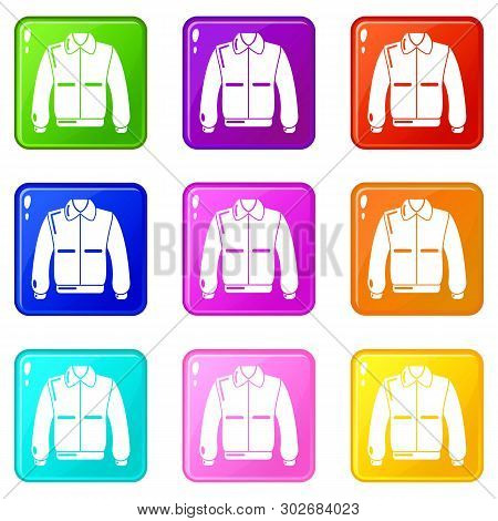 Varsity Jacket Icons Set 9 Color Collection Isolated On White For Any Design