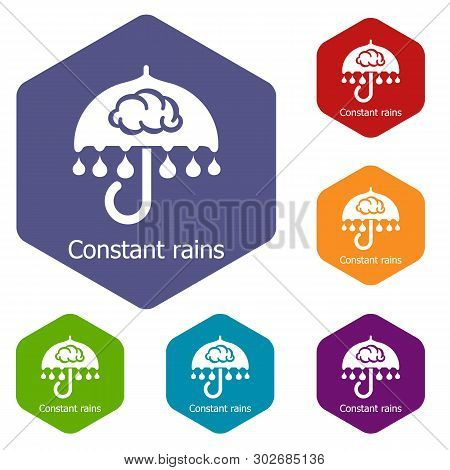 Constant Rain Icons Vector Colorful Hexahedron Set Collection Isolated On White