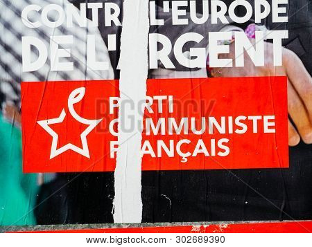 Strasbourg, France - May 23, 2019: Detail Of Damaged Posters In Green Sunny Park For 2019 European P
