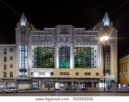 Lisbon, Portugal - November 20, 2018: Eden Hotel in Praca dos Restauradores Square.  Former cinema and theater with in Art Deco by Cassiano Branco