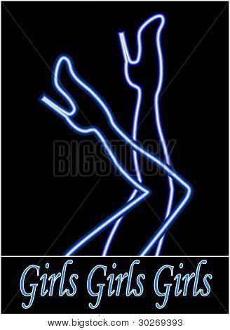 neon girls legs sign