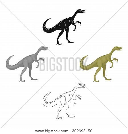 Dinosaur Gallimimus Icon In Cartoon, Black Style Isolated On White Background. Dinosaurs And Prehist