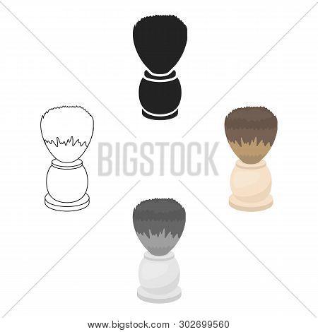 Shaving Brush Icon In Cartoon, Black Style Isolated On White Background. Hairdressery Symbol Stock V