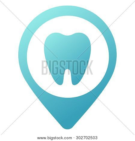Simple Blue Icon Of Dental Clinic Isolated On White. Trend Modern Logotype Or Graphic Design Emblem.