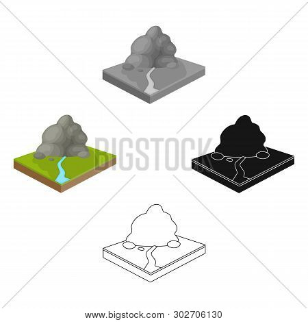 Mountains, Rocks And Landscape. Relief And Mountains Single Icon In Cartoon, Black Style Isometric V