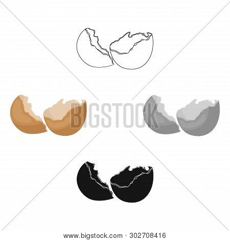 Broken eggshell icon in cartoon, black style isolated on white background. Trash and garbage symbol stock vector illustration. poster