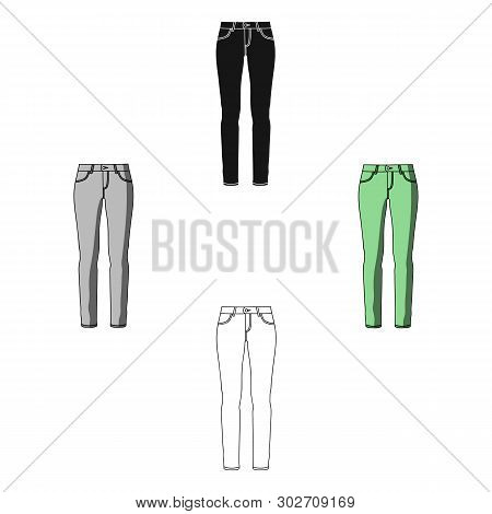 Green Skinny Pants For Women. Women S Clothes For A Walk.women Clothing Single Icon In Cartoon, Blac