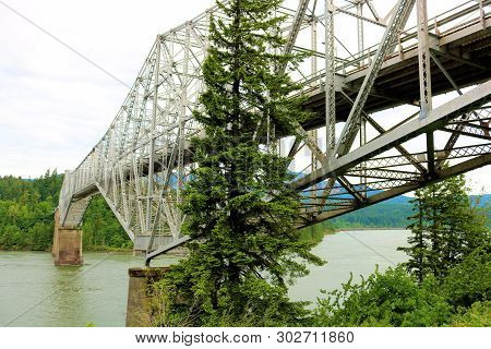 Historic Bridge With Large Trestles Over The Columbia River Taken At The Bridge Of The Gods In Casca