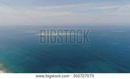 Seascape Aerial View Coral Reef, Atoll With Turquoise Water In Sea.tropical Atoll, Coral Reef In Oce