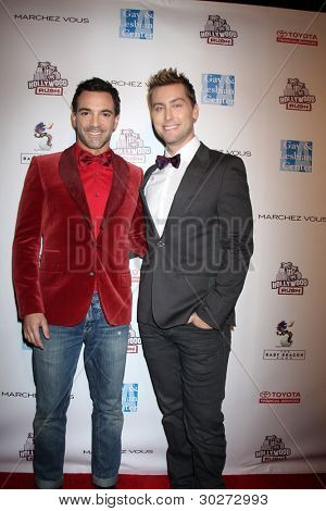 LOS ANGELES - FEB 19:  George Kotsiopoulos, Lance Bass arrive at the 2nd Annual Hollywood Rush at the Wilshire Ebell on February 19, 2012 in Los Angeles, CA.