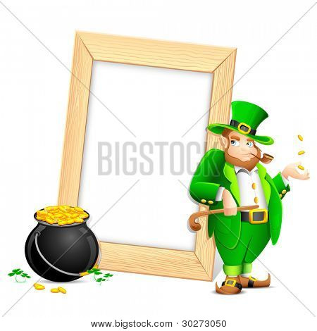 illustration of Leprechaun with smoking pipe and gold coin pot near photo frame
