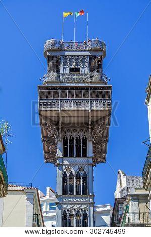 Lisbon, Portugal. Elevador de Santa Justa Lift seen from Santa Justa Street. 19th century. By Raul Mesnier de Ponsard, a Gustave Eiffel disciple.