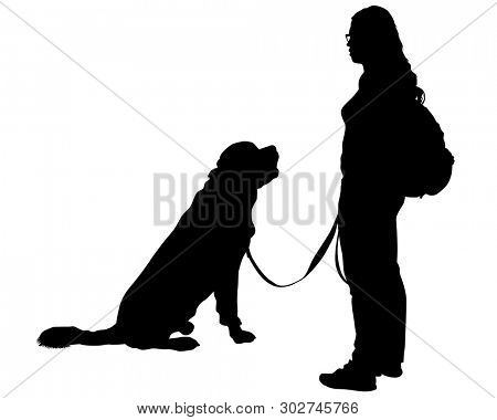 People with domestic dogs on a white background