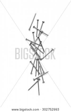Pile of nails on white background