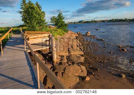 Small Bridge On The White Sea In The Village Of Rabocheostrovsk, Kem.  White Sea, Kemsky District, R