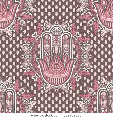 Art Seamless Pattern Hamsa Mandala. Ethnic Abstract Print. Colorful Repeating Background Texture. Cu