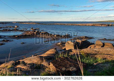 Stony Shore. Village Of Rabocheostrovsk. White Sea, Kemsky District, Republic Of Karelia, Russia