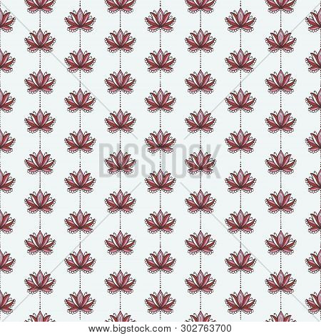 Art Seamless Pattern Lotus Flower Mandala. Ethnic Abstract Print. Colorful Repeating Background Text