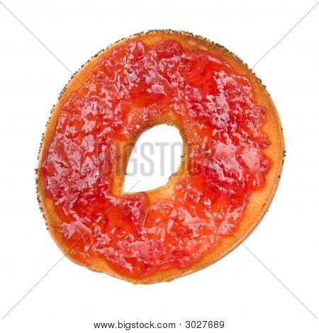 Delicious Bagel With Fruit Jam