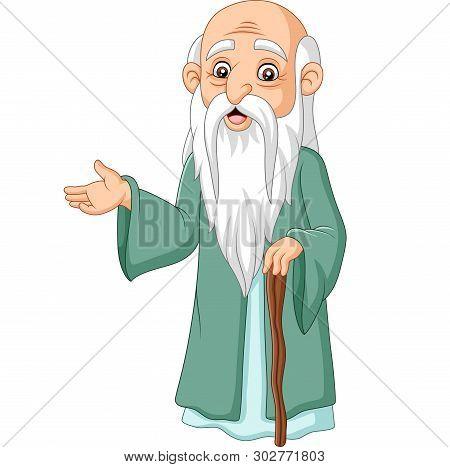 Cartoon Philosopher Thinker On A White Background
