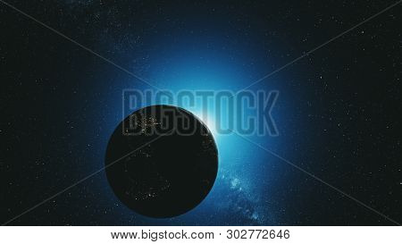 Earth Orbit Reverse Blue Sun Radiance Outer Space. Epic Cosmos Nebula Constellation Celestial Navigation Satellite View Universe Concept 3D Animation