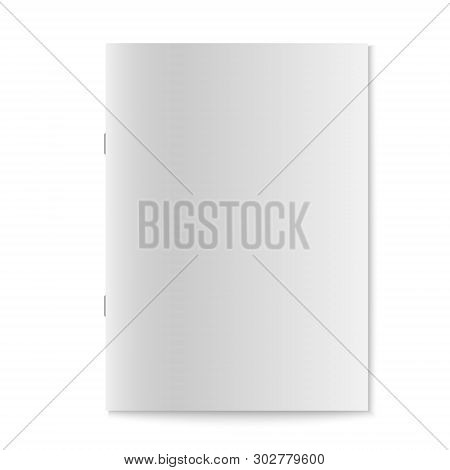 Realistic Book, Journal Or Magazine Mockup With Sheet Of A4. Blank Front Template For Brochure Desig