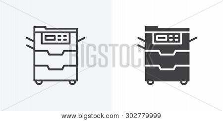 Office Copy Machine Icon. Line And Glyph Version, Document Copier Outline And Filled Vector Sign. Li