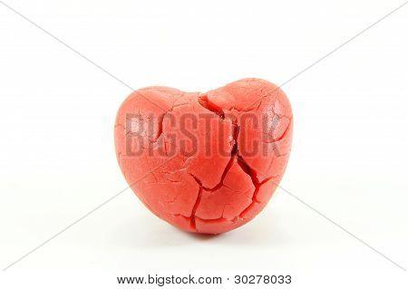 broken heart on white background