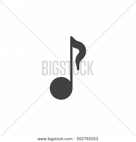 Quaver Or Eighth Music Note Vector Icon. Filled Flat Sign For Mobile Concept And Web Design. Musical