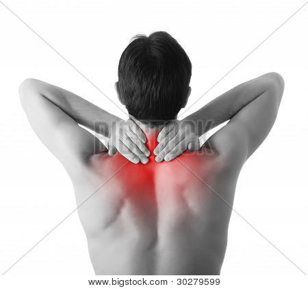 Rear View Of A Young Man Holding His Neck In Pain, Isolated On White Background