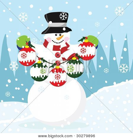 Snowman with Christmas Bauble
