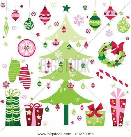 Retro Christmas Design Elements