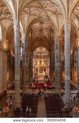Lisbon, Portugal - June 30, 2018: Church of the Jeronimos Monastery or Abbey aka Santa Maria de Belem monastery. UNESCO World Heritage. Manuelino or Manueline