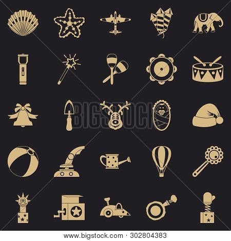 Obsolete Toy Icons Set. Simple Set Of 25 Obsolete Toy Vector Icons For Web For Any Design