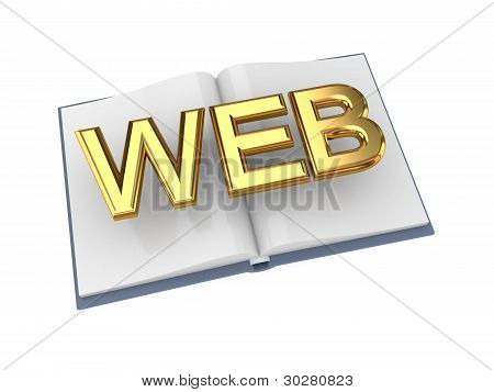 Opened book with golden word WEB.